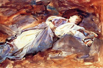 Sleeping Art - Violet Sleeping John Singer Sargent watercolour